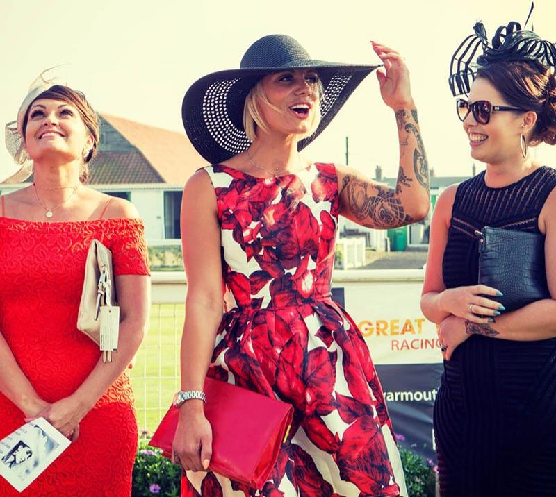 Three ladies enjoying a day out at Great Yarmouth Racecourse