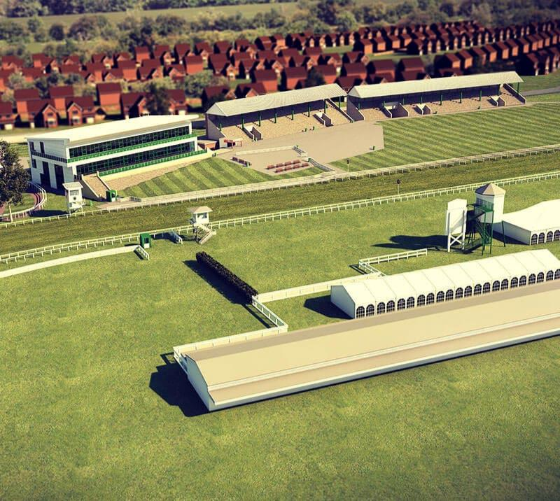 Digital graphic of the aerial view of the Great Yarmouth Racecourse.