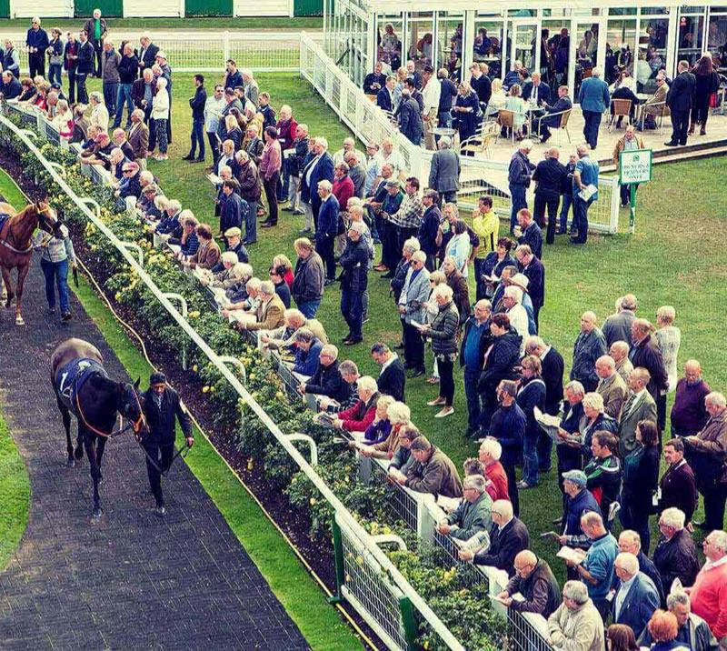 Crowds lined up next to the parade ring at Great Yarmouth Racecourse.