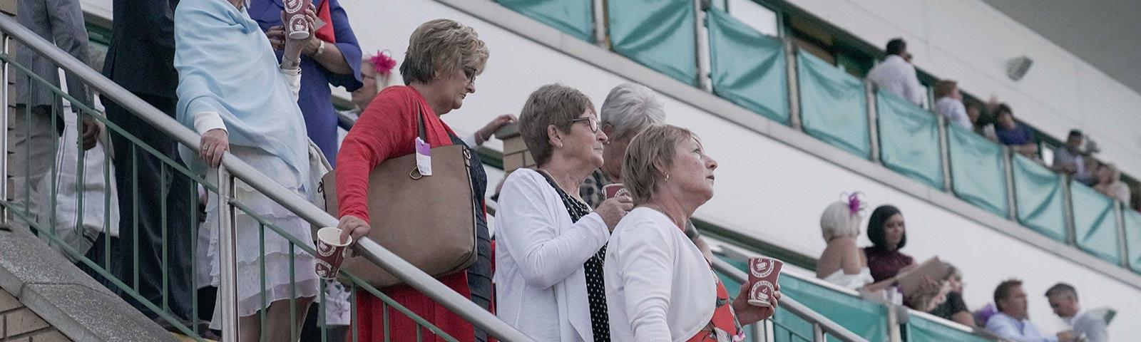 Group of racegoers standing in the grandstand while at the races.